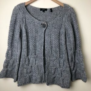 Theory Cable Knit Single Button Merino Cardigan